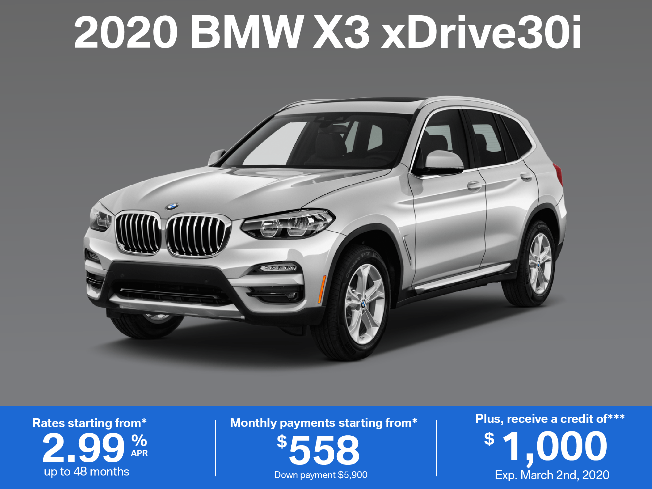 Lease the 2020 BMW X3 xDrive30i
